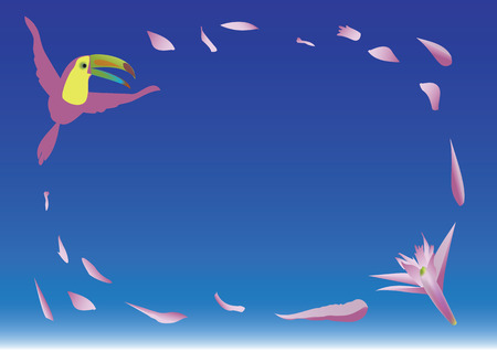 A flying colorful toucan and a pink exotic flower with scattered petals on the blue gradient background. Good for greeting or invitation card.