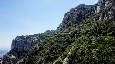 A view of the beautiful Montserrat, multi-peaked mountain range near Barcelona, in Spain. Good place for travelling, hiking and climbing.
