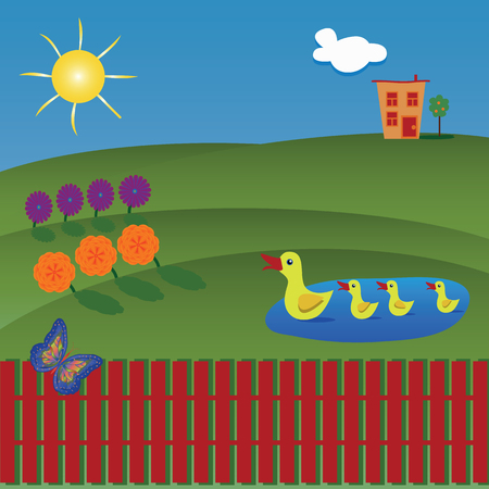 Vector of beautiful sunny landscape behind a red fence. Green hills, flowers, ducks on the lake and house on the background. Concept - organic life.