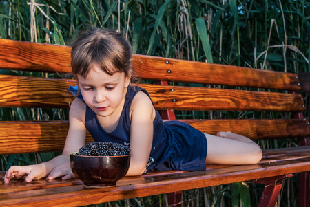 A four-years-old little girl lying on the bench among the high green grasses. The child looks at a bowl full of fresh ripe blackberries. Concept - healthy nutrition.