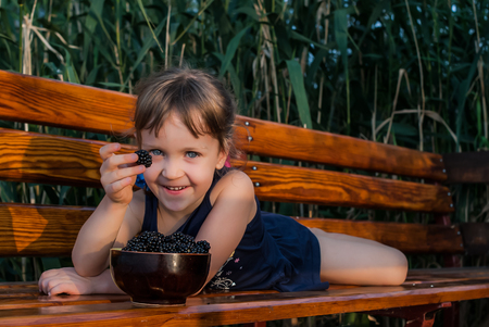 Little girl lies on a wooden bench with a bowl full of fresh blackberries in front of her. The child holds a berry in her hand, smiling and looking with her beautiful big blue eyes. Concept - healthy food. Standard-Bild