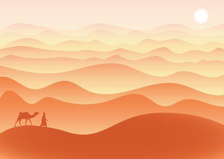 L'uomo con il cammello cammina da solo nel deserto sotto il sole cocente, vettore