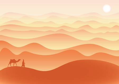 Man with camel walks alone in desert under the burning sun, vector.