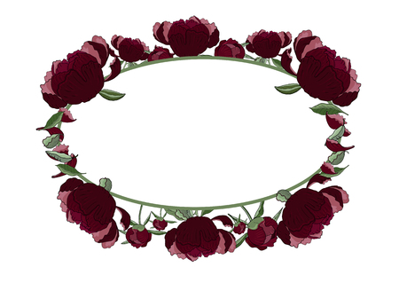 Floral oval frame of dark red peony flowers, buds and leaves with copy space. Romantic design, wedding announcements, greeting cards, posters, advertisement.