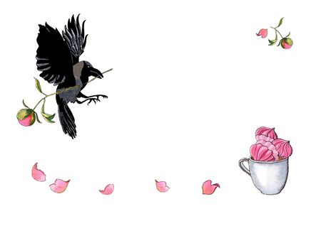 Watercolor hand drawn illustration of a flying crow with peony bud, cup with meringues isolated on white. Decoration for menu, greeting or invitation card.
