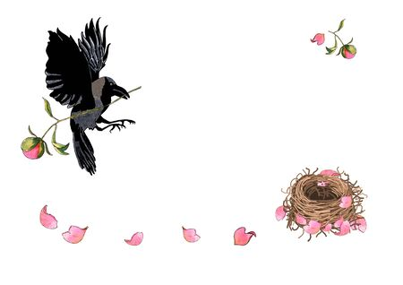 Crow flying with flower in beak. Mother bird builds her nest with peony petals, watercolor hand drawn. Illustration for romantic, greeting or invitation card. Concept - building a happy new family. Standard-Bild