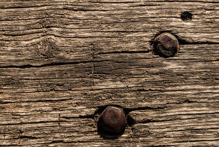 Old wooden bench texture with metal nut and bolt, closeup. Aged Solid Wood Shabby Background.