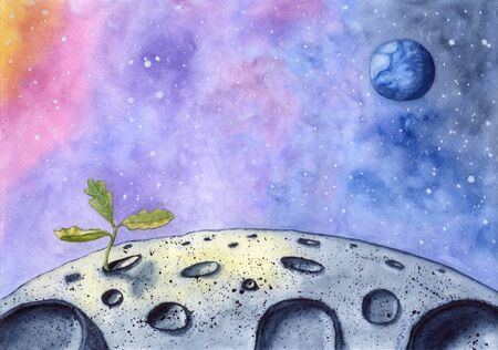 Watercolor hand drawn  of new life on the Moon - little oak sprout. Standard-Bild