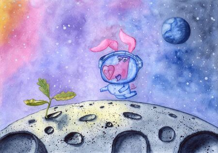 Fun pig with heart shaped snout flying in outer space.