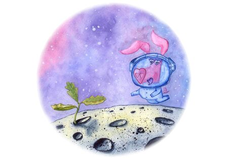 Fun pig with heart shaped snout finds a new life on the Moon - little oak sprout.