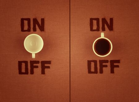 stimulator: Two images witj coffe OFF and ON. Stock Photo