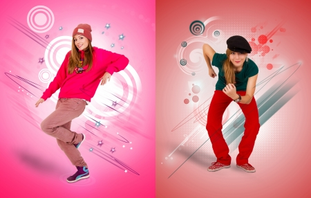 line dance: Dancing girl on pink and red background  Stock Photo