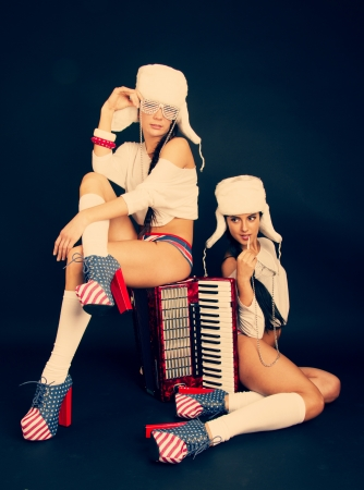 girls with accordion  photo