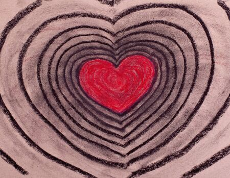 Image of red and black heart made with pastel for St. Valentines day