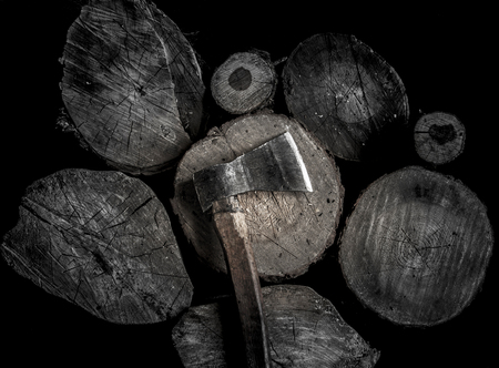 hobnail: Axe with wooden handle on the wooden stub. brutal male style . Stock Photo