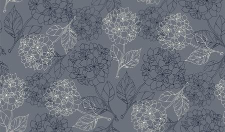 Flower pattern with hydrangeas.