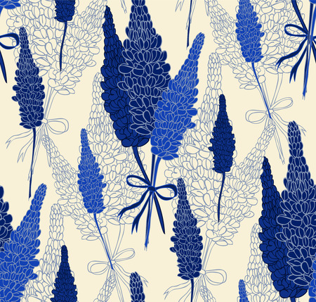 Flower pattern with lupines. Illustration