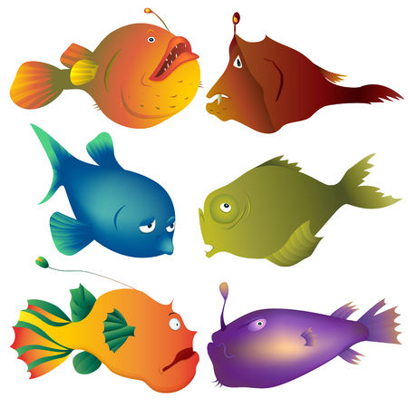Collection of sad, tired, scared and serious deep-water fishes for book illustration.