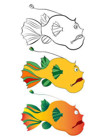 Stylized drawing of fish for children book illustration, flash card games, stickers or mobile applications. Vector EPS10