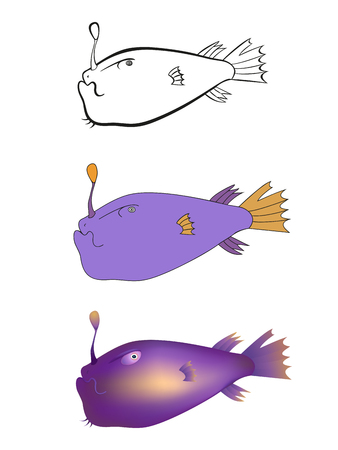 Stylized drawing of fish for book illustration.