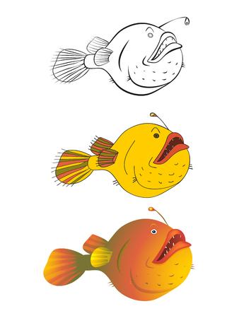 Stylized drawing of fish book illustration. Illustration