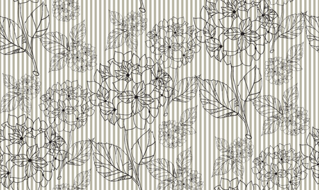 Flower seamless pattern with hydrangeas. Pattern can be used as wedding background, fabric print, surface texture, wrapping paper, web page backdrop, wallpaper. Vector illustration Illustration