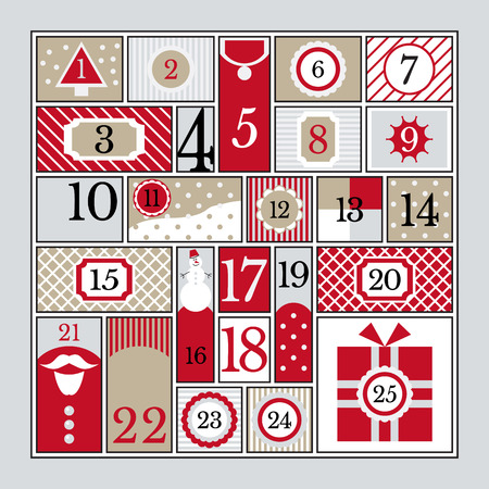 Advent kalender vector illustratie. Stock Illustratie