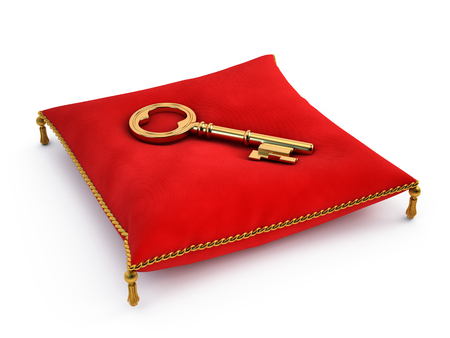 golden key: Golden key on red pillow