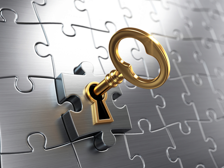 business success: Golden key and puzzle