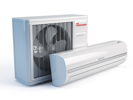 the split: Air conditioner on white background