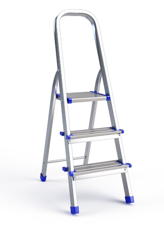 ladder: Metallic step ladder isolated on white
