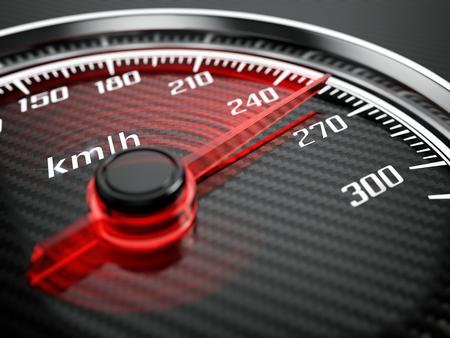metro medir: Alto concepto de velocidad - Velocímetro del coche Foto de archivo