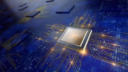 중앙 컴퓨터 프로세서의 CPU 개념 스톡 콘텐츠