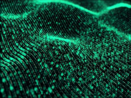 Waves of digital information concept - binare code background 스톡 콘텐츠