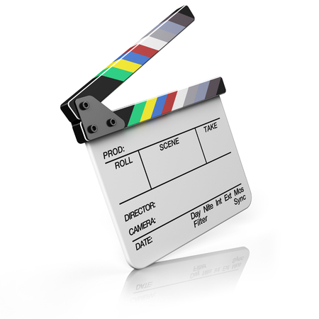 film roll: Clapper board isolated on white