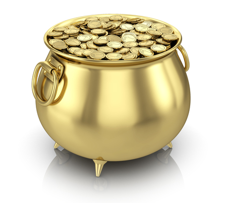 Pot of gold coins isolated on white Standard-Bild