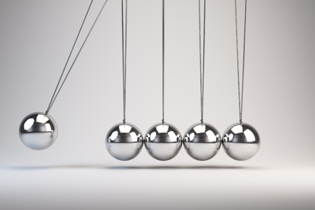 Balancing Balls Newtons Cradle. Stock Photo