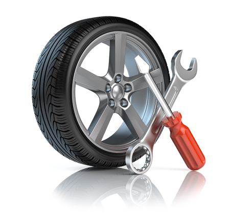 Wheel repair Stock Photo