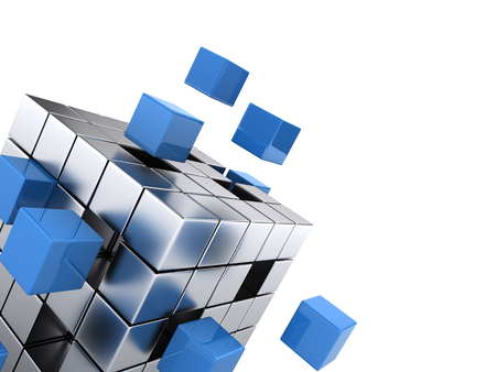 construction management: teamwork business concept - cube assembling from blocks Stock Photo