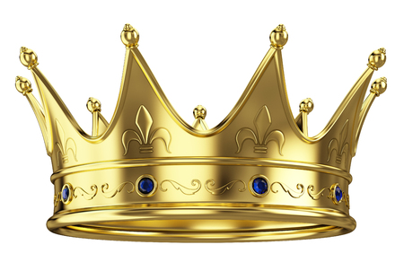 luxuriance: Gold crown isolated on white background