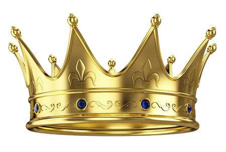 Gouden kroon geïsoleerd op witte achtergrond Stockfoto