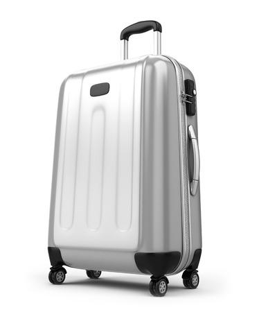 Grote koffer op wit wordt geïsoleerd