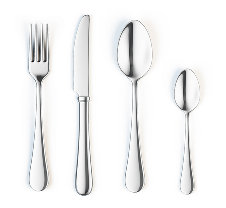 forks: Fork, knife and spoon isolated on white background