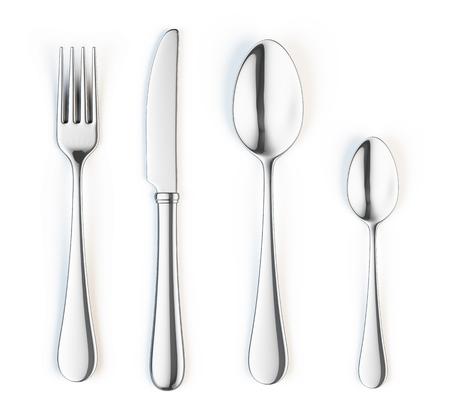 cuchillo: Tenedor, cuchillo y cuchara aisladas sobre fondo blanco