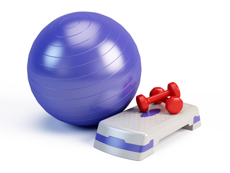 Fitness ball, weights and fitness step board Stock Photo