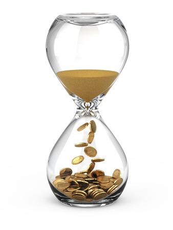 reloj de arena: El tiempo es dinero concepto Foto de archivo