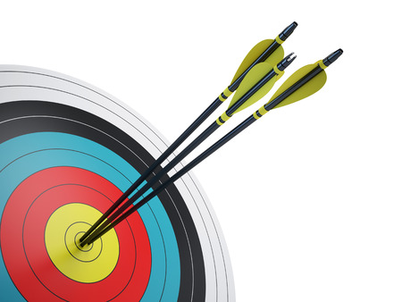 bow and arrow: Arrows hitting the center of target - success business concept