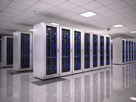 perspective room: Server room Stock Photo