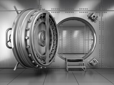 caja fuerte: Abra la cámara acorazada de la puerta del Banco