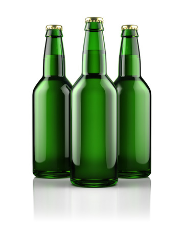 dew cap: Three beer bottles isolated on white